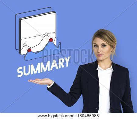 Business woman and summary concept card