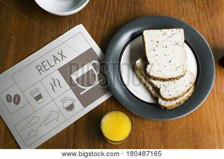 Breakfast with Illustration of coffee shop advertisement on newspaper