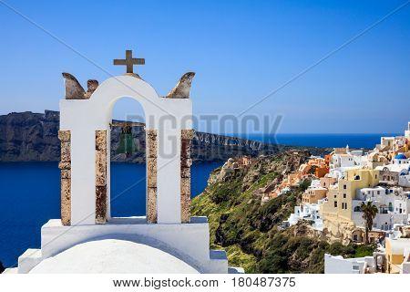 Bell Tower In Santorini, Greece