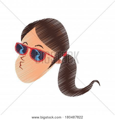 young brunette woman with sunglasses blowing a kiss cartoon icon image vector illustration design