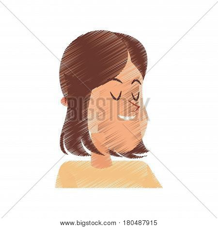 happy smiling young brunette woman cartoon icon image vector illustration design