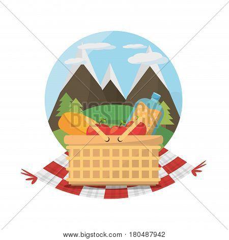 picnic basket food blanket mountains label vector illustration eps 10