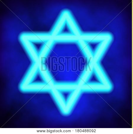 Abstract sign with Six-pointed star of David on mesh background. Vector illustration. Jewish star of David rendered in neon style. Judaism sacred geometry sign.