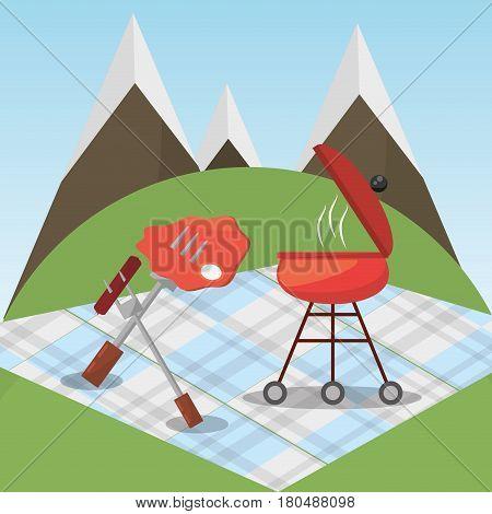 picnic grilled food blanket mountains vector illustration eps 10