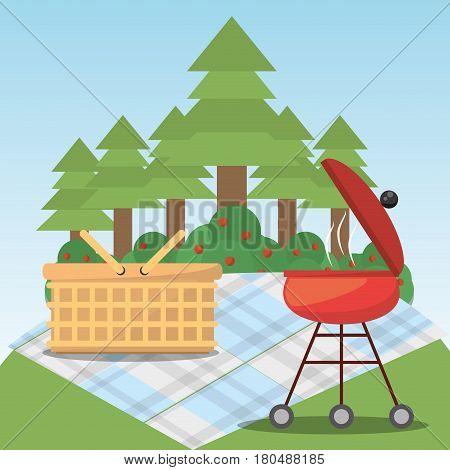 picnic grill basket blanket forest tree vector illustration eps 10