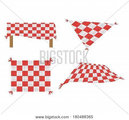 set blanket picnic tablecloth image vector illustration eps 10
