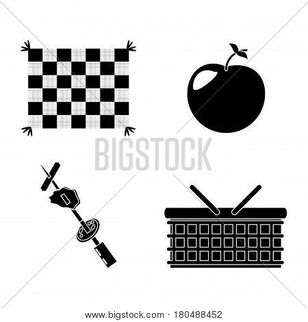 picnic basket grilled food apple blanket vector illustration eps 10