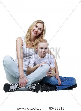 happy smiling mother and son, isolated against white background