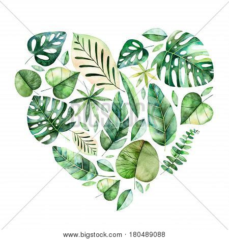 Beautiful template card. Handpainted illustration with colorful tropical leaves.