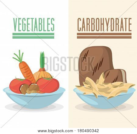vegetable carbohydrate food diet ingredient vector illustration eps 10