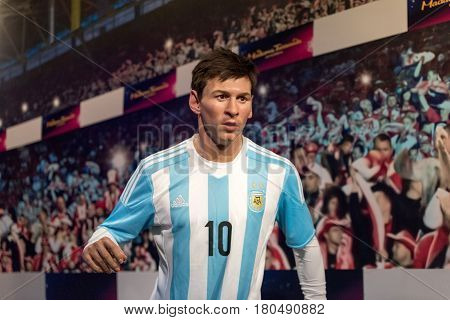 ISTANBUL, TURKEY - MARCH 16, 2017: Lionel Messi wax figure at Madame Tussauds  museum in Istanbul. Lionel Messi is one of the best football player of all time.