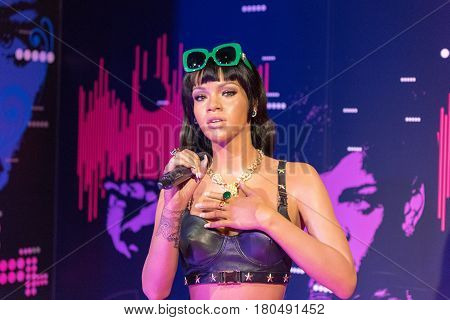 ISTANBUL, TURKEY - MARCH 16, 2017: Rihanna wax figure at Madame Tussauds  museum in Istanbul. Robyn Rihanna Fenty is a  Barbadian singer, songwriter and actress.