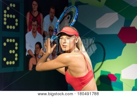ISTANBUL, TURKEY - MARCH 16, 2017: Maria Sharapova  wax figure at Madame Tussauds museum in Istanbul. Maria Sharapova is professional tennis player.