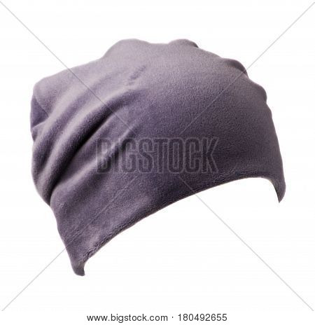 Women's Hat . Knitted Hat Isolated On White Background . Purple Hat
