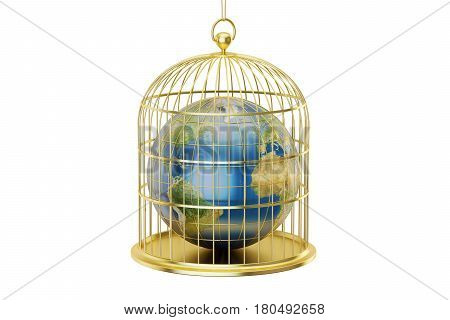 Birdcage with Planet Earth trapped inside isolated on white background