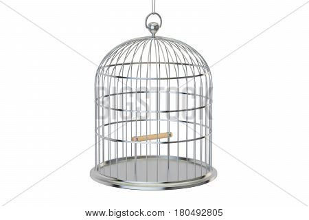 Steel bird cage with closed door 3D rendering isolated on white background