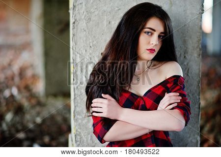 Portrait Girl With Red Lips Wearing A Red Checkered Shirt With Bare Shoulders Posed Sexy Background