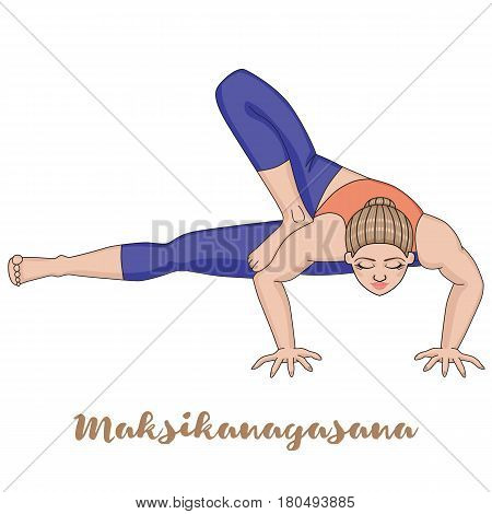 Women silhouette. Dragonfly yoga pose. Maksikanagasana Vector illustration