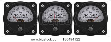 ISO 14001. Analog indicator showing the level of implementation ISO 14001 standard (ISO 14001 sets out the criteria for an Environmental Management System (EMS)). 3D Illustration. Isolated