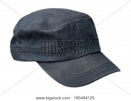 Cap Isolated On White Background. Cap With A Visor . Blue Cap