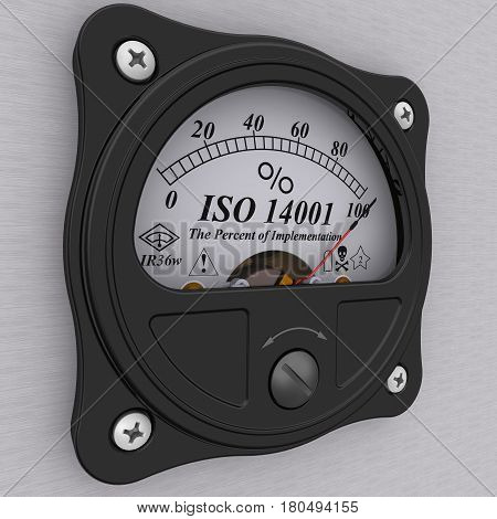 ISO 14001. Analog indicator showing the level of implementation ISO 14001 standard (ISO 14001 sets out the criteria for an Environmental Management System (EMS)). 3D Illustration.