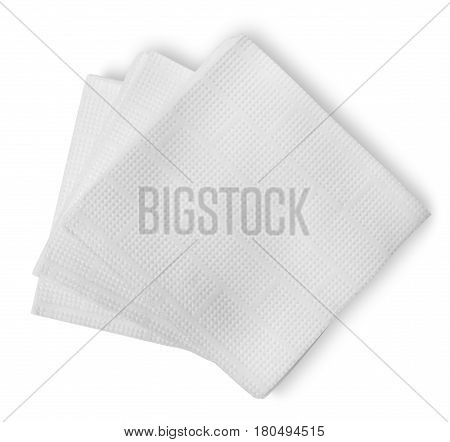 White paper napkins isolated on a white background
