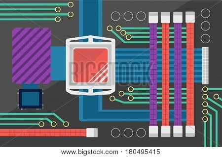Flat design colorful vector illustration of computer motherboard with central processor RAM memory PCIe slots chipset radiator and other circuits