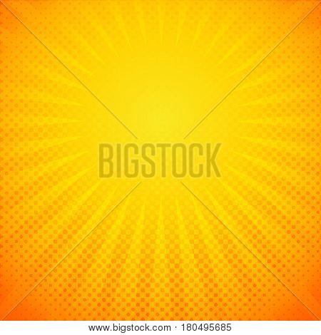 Template bright flash radial lines yellow background. Comic yellow light strip burst vector illustration for superhero design.