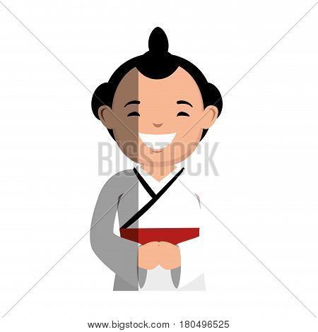 japanese ethnic man avatar vector illustration design