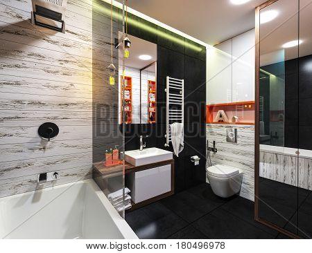 modern interior of a bathroom in loft