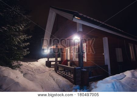 A cozy cottage chalet house near ski resort in winter