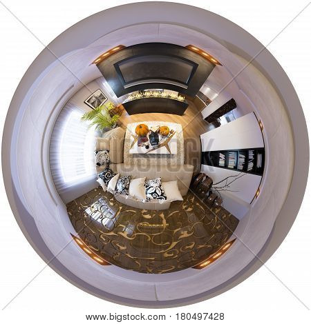 3d illustration spherical 360 degrees, seamless panorama of living room interior design. The living room is made in grey and black tones in a modren style with fireplace