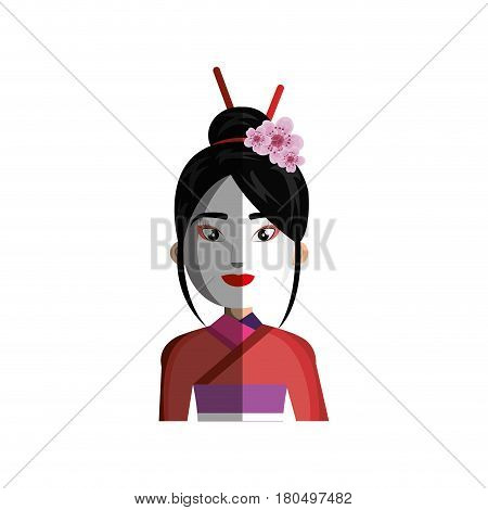 geisha japanese girl icon vector illustration design