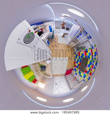 3d illustration spherical 360 degrees, seamless panorama of children's room interior design. Design a child's room for a boy in bright color tones. Tiny little world