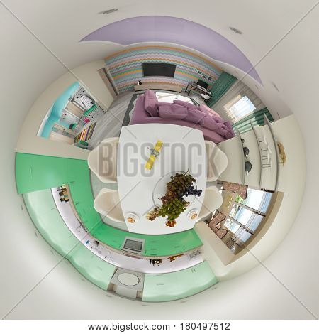 3d illustration spherical 360 degrees, seamless panorama of  living room and kitchen interior design. Modern studio apartment in the Scandinavian minimalist style. Tiny little world