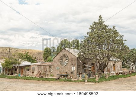 NIEU BETHESDA SOUTH AFRICA - MARCH 21 2017: A restaurant building decorated with old obsolete items in Nieu-Bethesda an historic village in the Eastern Cape Province