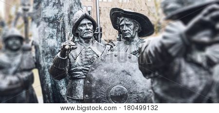 Two statues from the group of Russian bronzes detailing Night Watch based on the painting by Rembrandt in Amsterdam, Netherlands