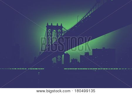 Silhouette of Manhattan bridge in New York city toned in green glowing with horizontal stripe of green lights