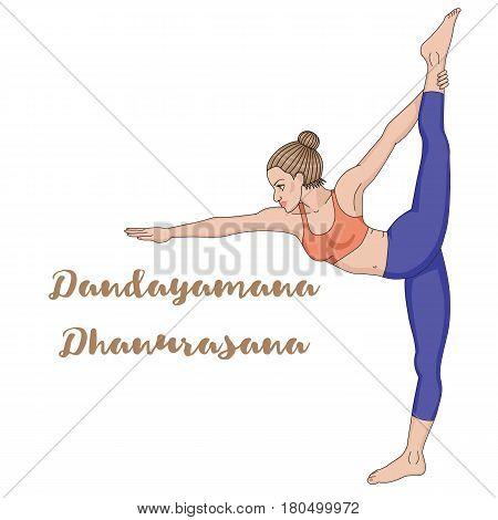 Women silhouette. Standing Bow Pulling yoga pose. Dandayamana Dhanurasana. Vector illustration.