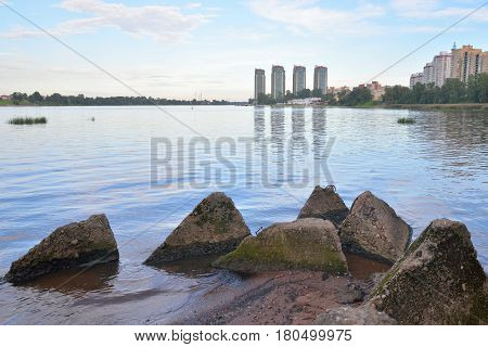 View of Neva river and microdistrict Ribatskoe on the outskirts of St. Petersburg at evening Russia.