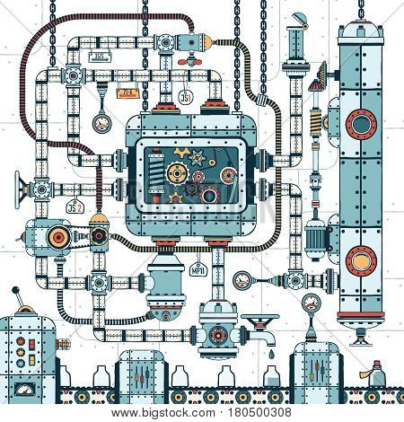A fantastic complex steampunk machine made of interlocking pipes cables devices and accessories. Conveyor for filling bottles with liquid. Colored Vector illustration.