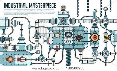 Incredible complex industrial machine with pipes valves hoses mechanisms apparatus. Spare parts are grouped separately - you can disassemble and assemble differently.