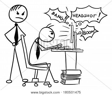 Cartoon vector doodle stickman playing video game on computer screen during work job with angry boss standing behind him