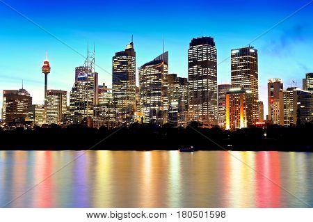 Australia Sydney Cityscape view at night with reflections