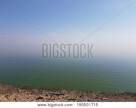 Silent smooth surface of the Azov Sea in calm