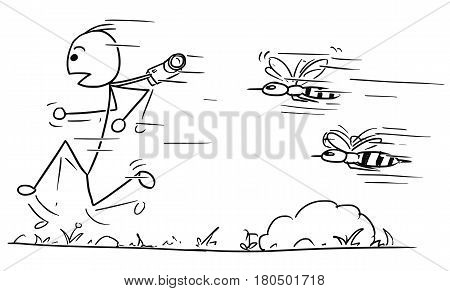 Cartoon vector stickman male tourist is hunted by two large giant angry wasps or bees