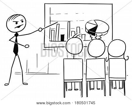 Cartoon vector doodle stickman stick man male boss or teacher is presenting several graphs on the table or screen 3 office workers or students are sitting in front of him watching
