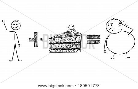 Cartoon vector stickman calculation of slim male character plus piece of cake equal fat male character