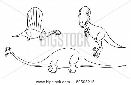 Vector Cartoon Set 03 of ancient dinosaur monster - Dimetrodon Brontosaurus Tyrannosaurus
