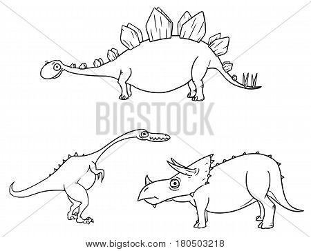 Vector Cartoon Set 04 of ancient dinosaur monster - StegosaurusTriceratopsCoelophysis